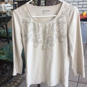 Chico's Zynergy Long-Sleeved Embellished Top